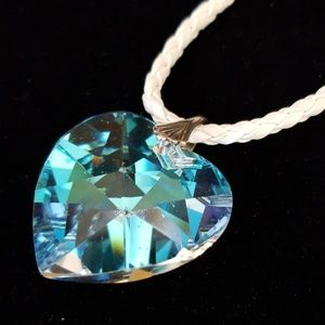 Vintage Crystal Heart Pendant Leather Necklace